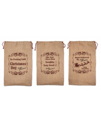 12 x Hessian Christmas Sacks
