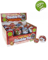 24 x Tin Christmas Baubles With Candy