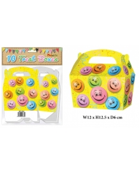 10 x Smiley Face Party Treat Boxes 10 pk