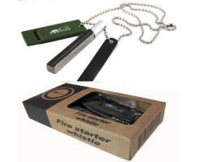 Survival Multi Tool Magnesium Fire Starter Kit Flint + Saw + Whistle + Army Necklace