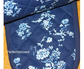 Country Kitchen Oven Gloves Dark Blue Floral Vintage