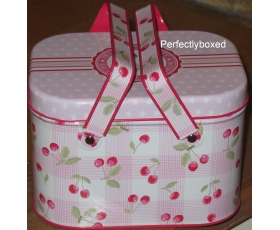 Greengate Picnic Tins Cherry Pink Floral Vintage Lunch Box