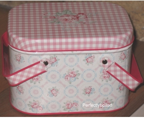Greengate Picnic Tins Abelone White Pink Floral Vintage Lunch Box