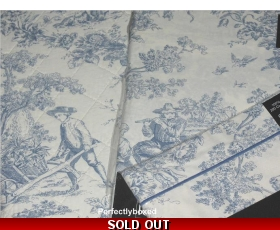 Toile de Jouy Percale Duvet King Blue + 2 oxford pillowcases