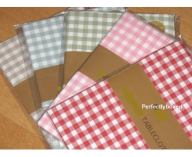 Natural Beige Gingham Tablecloth 54 x 54 Country Farmhouse Check