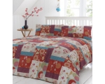 Red Blue Patchwork Double Duvet Retro Floral Ori..