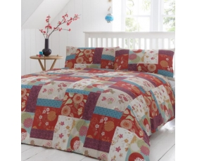 Red Blue Patchwork Single Duvet Retro Floral Oriental