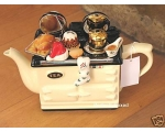 Aga Style Christmas Dinner Teapot Cream Ceramic