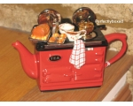 Aga Style Sunday Lunch Roast Teapot Red ceramic