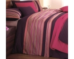Purple Pink Ribbon Stripe Double Duvet Cover Bou..
