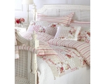 Pink Red Yellow Stripe Double Duvet Cover Set S..