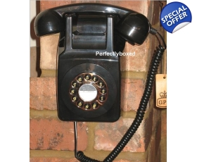 GPO 746 Wall Phone Black Telephone 1970s Push Button Corded