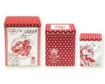 Greengate Set 3 Tins Boxes Fay Red Storage