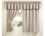 Natural Gingham Curtains 66 x 48 Incl Pelmet Tie..