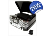 GPO Memphis Black Retro Record Music Player Radio