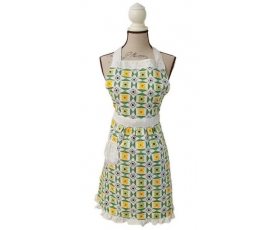 Apron Mid Century 50s Retro Green Yellow Flower