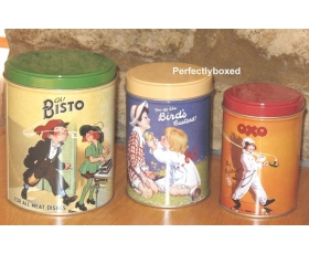 Bisto Storage Tins Set 3 Retro Tea Coffee Sugar Cannisters Robert Opie