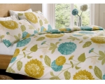 Teal Blue Lime Green Double Duvet Retro Floral P..