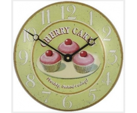 Cherry Cakes Cupcakes Enamel Wall Clock Pink Green Retro