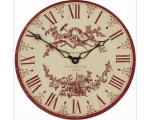 Toile de Jouy Wall Clock Red Pink Vintage Style ..