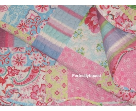 Bedspread Patchwork Pink Blue King Floral Paisley + 2 shams St Lucia