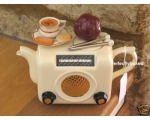 Retro Radio Style Teapot Cream Ceramic Collectable