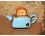 Toaster Miniature Teapot Blue Retro Ceramic Col..