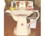 Wash Basin Flowers Teapot Collectable Ceramic V..