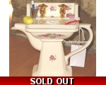 Wash Basin Flowers Teapot Collectable Ceramic Vi..