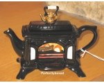 Woodburner Stove Teapot Black Ceramic Collectab..