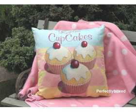 Wiscombe Gorgeous Cupcakes Cushion Cover Vintage Retro