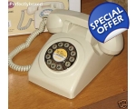 Corded Desk Telephone Cream Push Button Vintage..