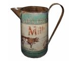 Dairy Fresh Milk Cow Rustic Jug 26cm Green Vint..