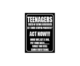 Teenagers know everything Metal Wall Sign Retro Humour