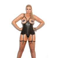 Open cup leather corset with zipp..