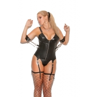 Leather zip front corset with und..