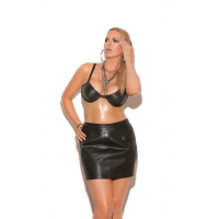 Underwire leather bra with adjust..