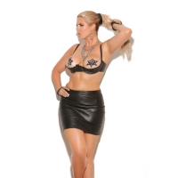 Leather pencil mini skirt with ba..
