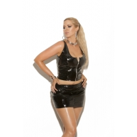 Vinyl pencil skirt with back zipper