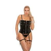 Vinyl zip front corset with buckl..