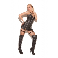 Leather zip front corset with buc..