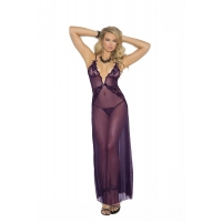 DARK PURPLE SCALLOPED GOWN