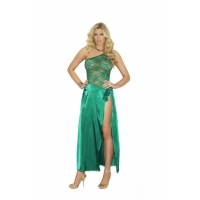 Charmeuse and lace gown with one ..
