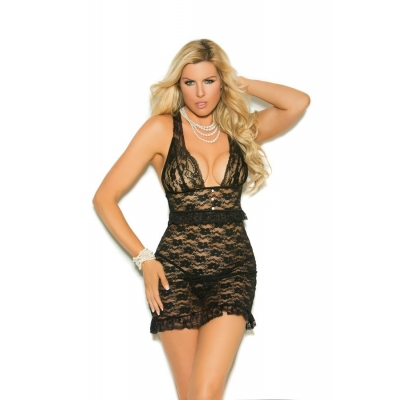 LACE BABYDOLL WITH PEARL BUTTON
