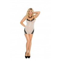 MESH CHEMISE WITH LACE INSERTS