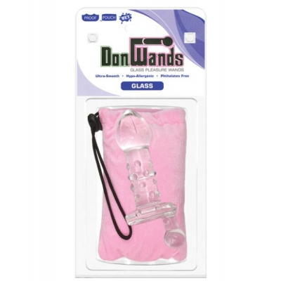 Don wands glass pleasure wand w/melon crank - clear nubby