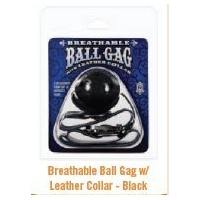 BREATHABLE BALL GAG with LEATHER ..