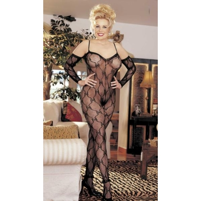 PLUS SIZE STRETCH LACE BODY STOCKING,OPEN FRONT