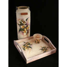 Flowers - metal churn, tray ..