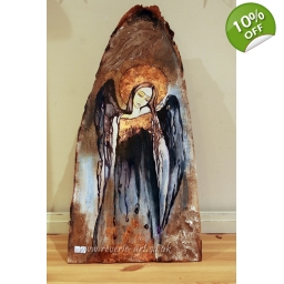Angel on wood 3 - free stand..